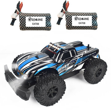 Coupone for Eachine EAT08 RTR with 2/3 Battery 1/14 2.4G 2WD RC Car Front LED Light Off-Road Vehicles Model Kids Children Toys
