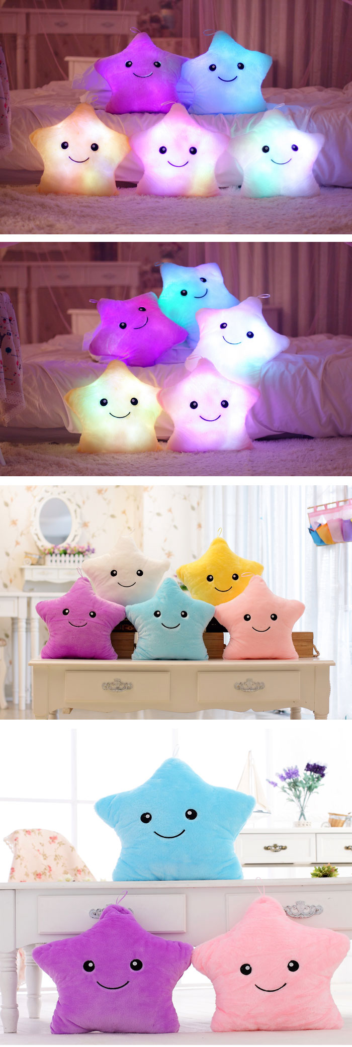 colorful LED star shape throw pillow