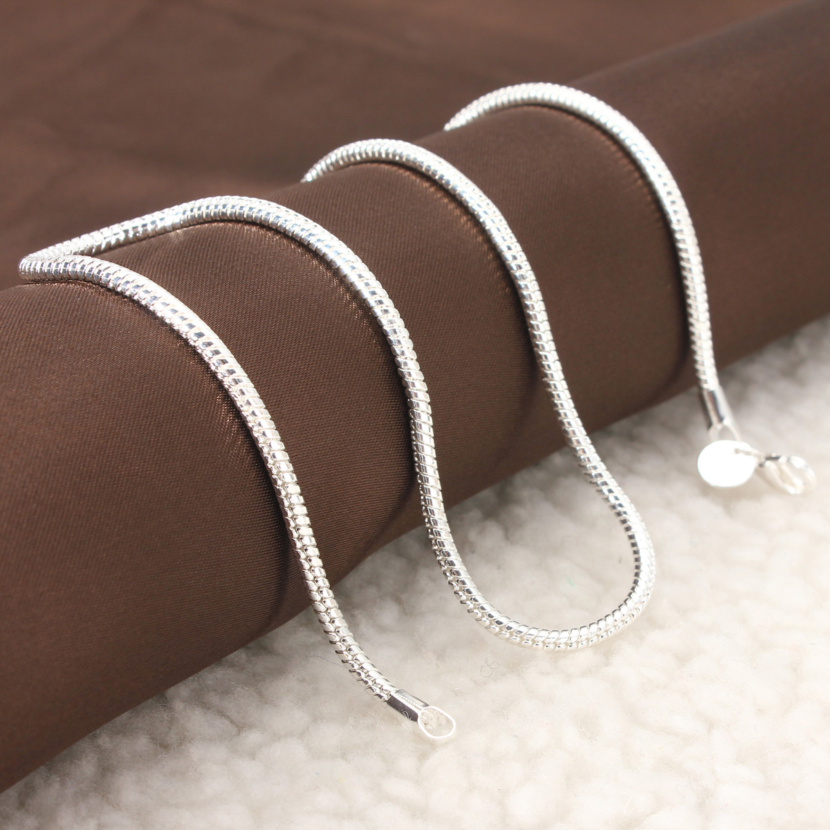 925 Sterling Silver 3MM Simple Snake Unisex DIY Necklace Chain