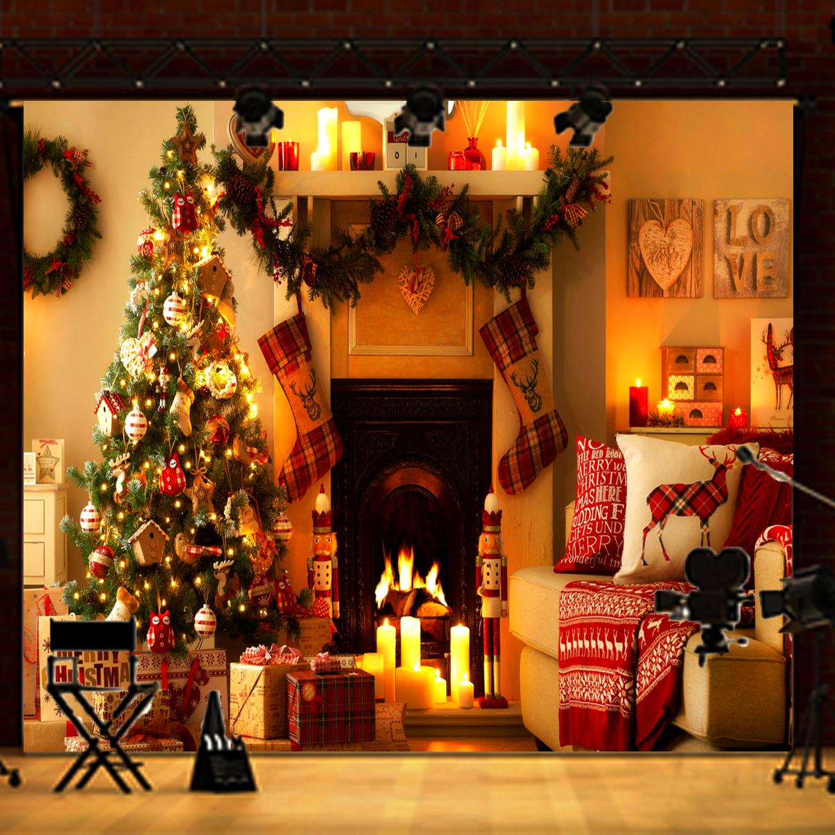 Vinyl szövet háttér fotózáshoz. Kandallót ábrázoló karácsonyi fotó háttér 2.1m x 1.5m 1217131