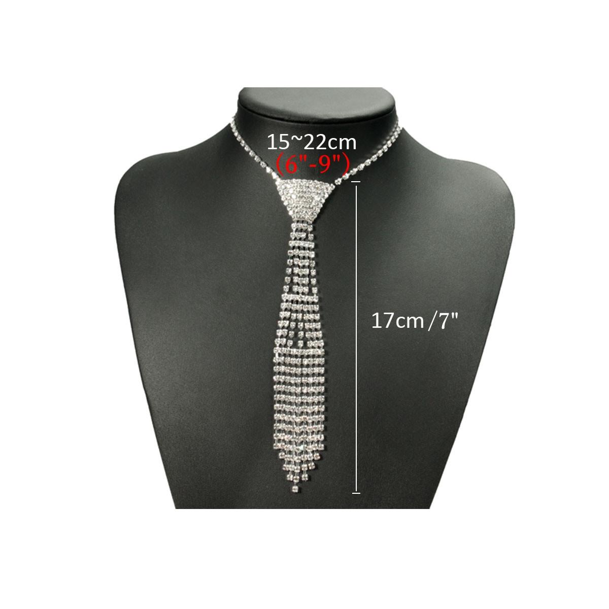 White Crystal Drop Rhinestone Neck Tie Women Necklace Chain