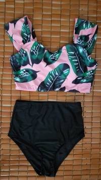 Women Sexy Printed Sleeveless Tankinis Wireless High Waist Swimwear Sets