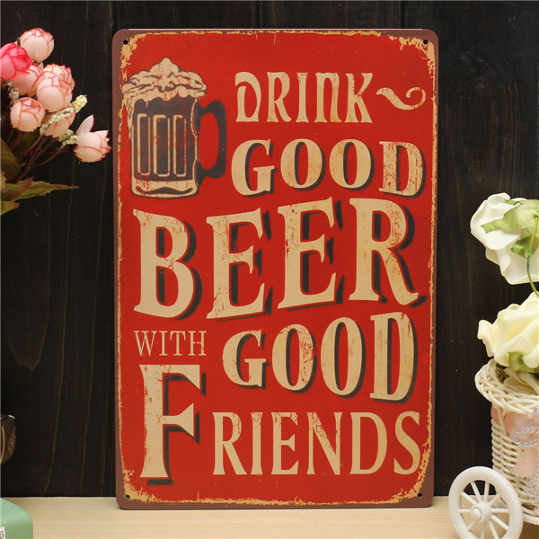 Beer Sheet Metal Drawing Metal Painting Tin Shop Pub Wall Tavern Poster Sign