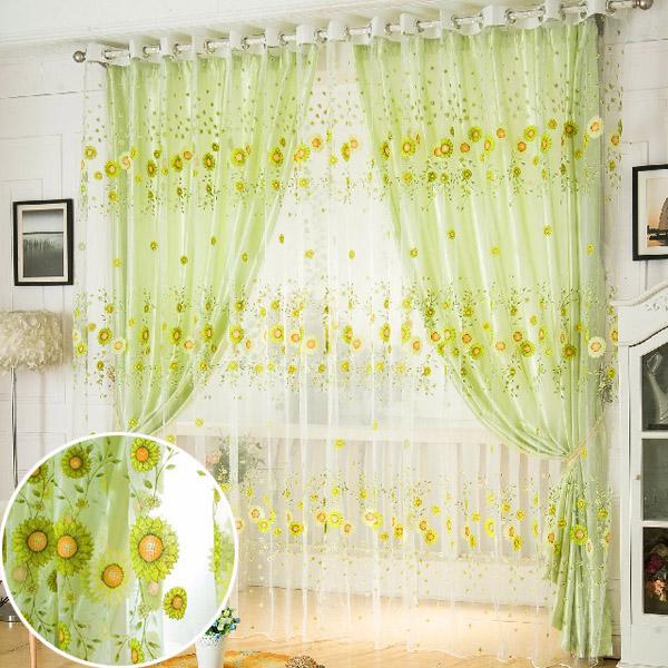 100x200cm подсолнечное тюль вуаль само окно экрана занавес окна спальни