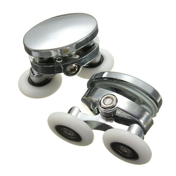 2шт 25 мм Дверцы для душа Двойной сплав Ванная комната Аксессуары для колес Стекло Оборудование