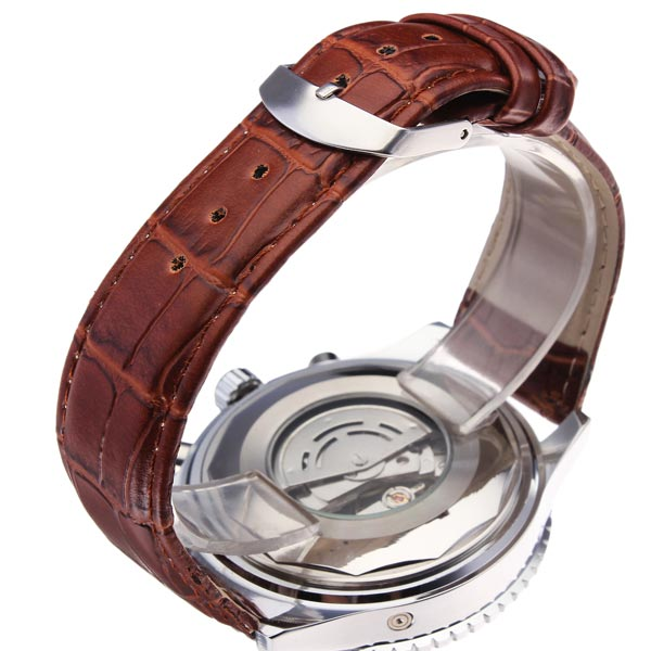 SEWOR Automatic Self-Wind Mechanical Watch Genuine Leather Strap Men Watch