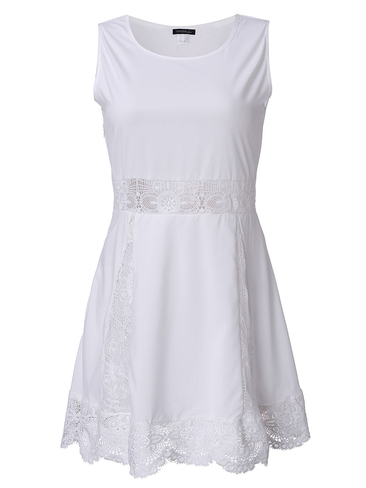 Women White Lace Crochet Hollow ...
