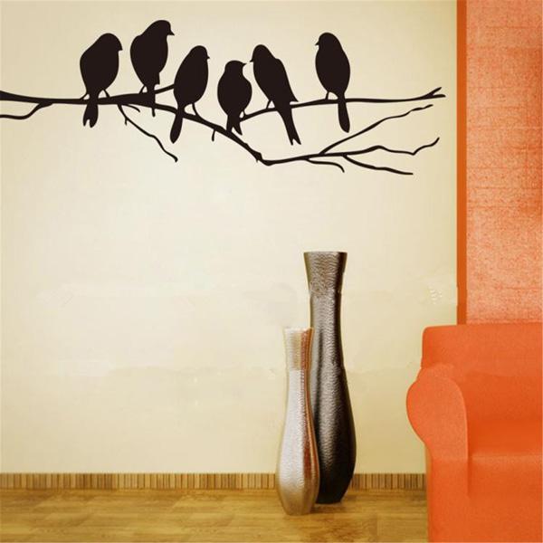 Съемные Птицы Филиал Стены Дерево Наклейки Home Art Наклейки DIY Декор Гостиной
