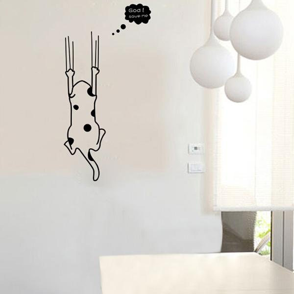 Мультфильм черная кошка белый стикер стены домашний декор холодильника кухонный шкаф обоями