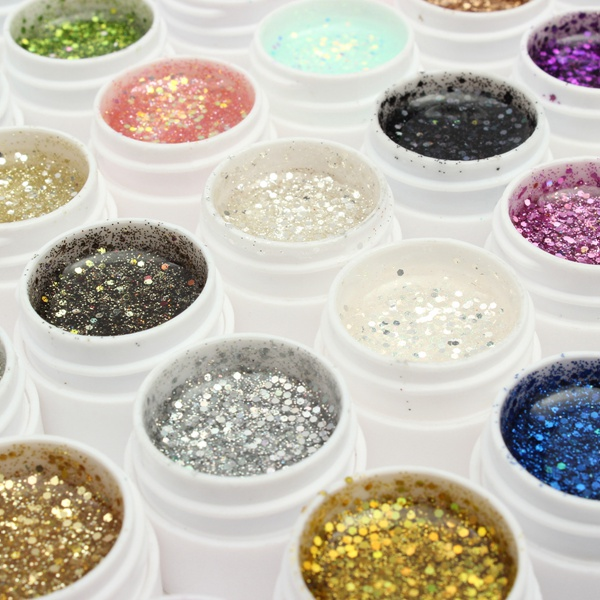 1 Pot 36 Color Glitter UV Gel Builder Nail Art Polish