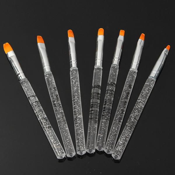 Набор 7pcs УФ-гель акриловый кристалл дизайн ногтей строитель кисть перо