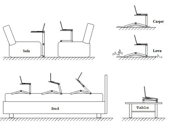 Folding Table Stand for Notebook Laptop with Mouse Holder 6