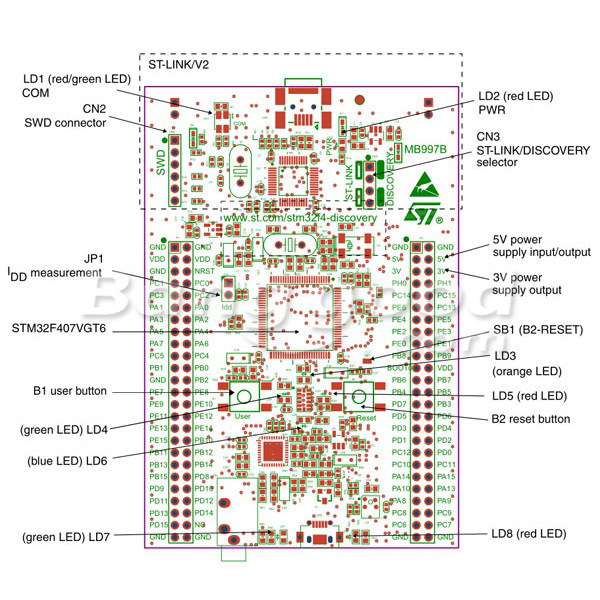 ARM STM32 Cortex-M4 STM32F4DISCOVERY Development Board With 17 Modules
