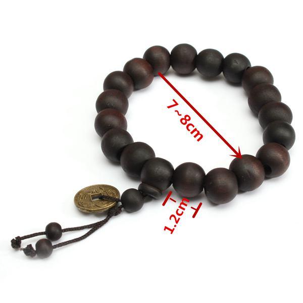 Vintage Unisex Black Buddhist Tibetan Prayer Wood Beads Coin Bracelet for  Men