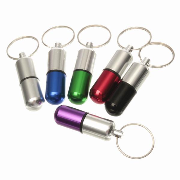 Водонепроницаемый алюминиевый таблетки коробки случае держатель брелок бутылка контейнер