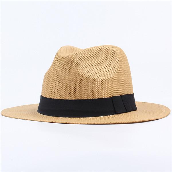 321893cd men women classic beach sun wide brim panama straw hat at Banggood