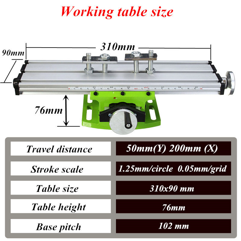 MINIQ BG6300 Mini Precision Milling Machine Worktable Multifunction Drill Vise Fixture Working Table 13