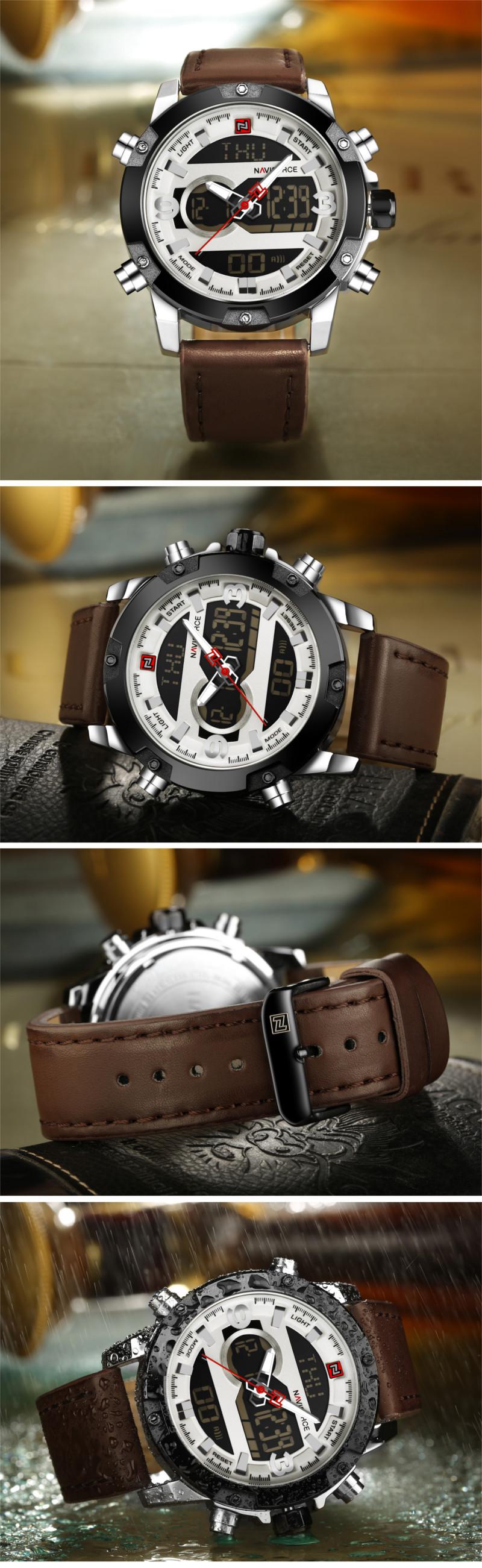 NAVIFORCE NF9097 Fashion Men Dual Display Watch Luxury Leather Strap Sport Watch