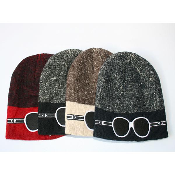 6538ae5504e3 Mens Casual Cartoon Glasses Pattern Knitted Beanie Hat Outdoor Sport Woolen Winter  Warm Hat