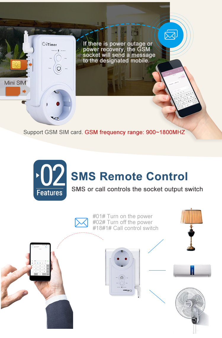 WAYTRONIC GSM Smart Power Outlet Plug Socket English Russian SMS Remote  Control Timing Switch Temperature Controller with Sensor