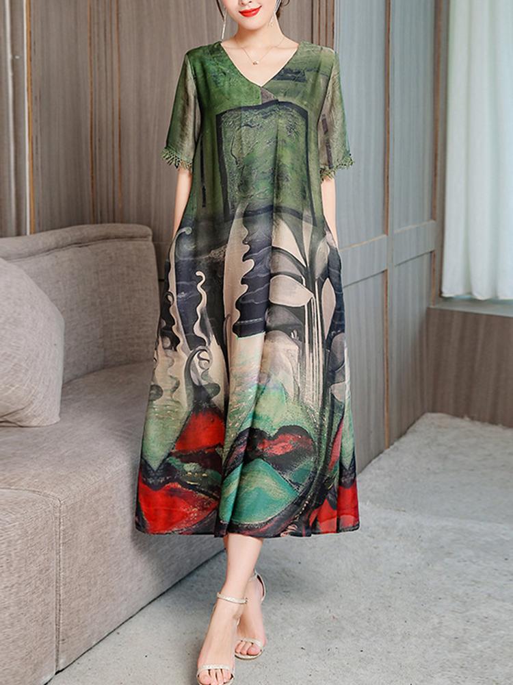 Women Elegant Art Printed V-neck Half Sleeve Loose Dress