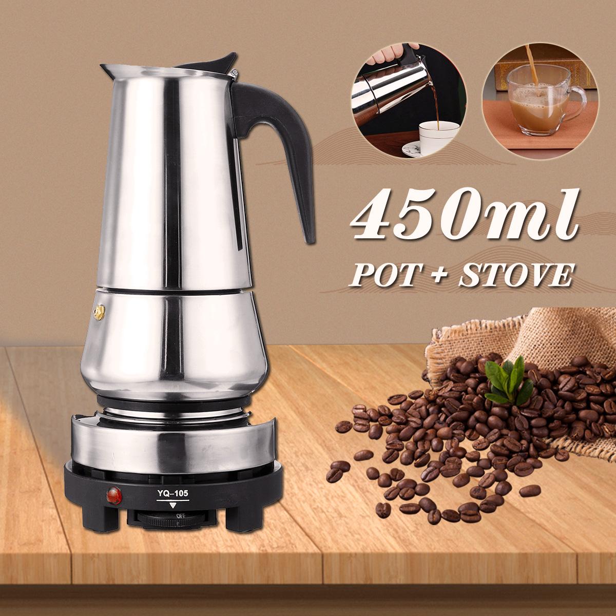 220V 500W 450ml Portable Coffee Espresso Pot Maker & Electric Stove Home Kitchen Tools 13