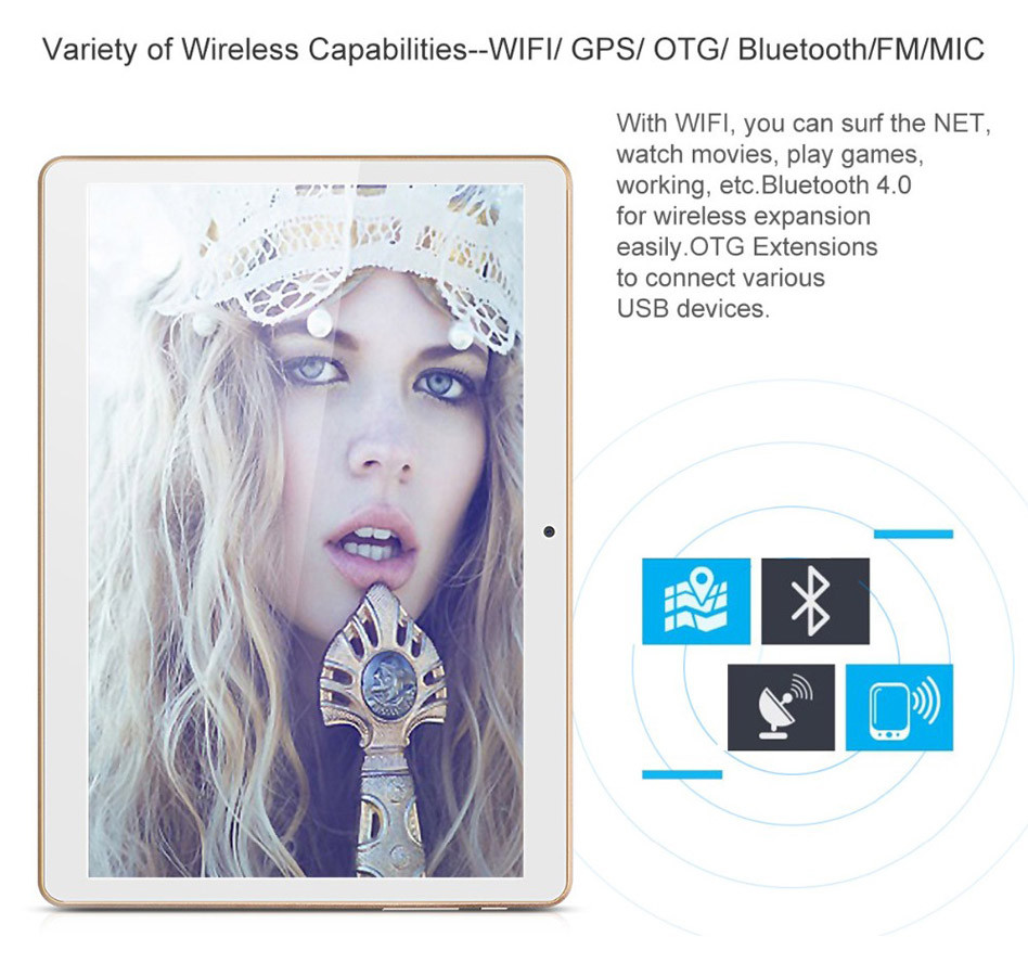 16GB MT6735 A7 Quad Core 10 1 Inch Android 5 1 4G Calling Tablet PC