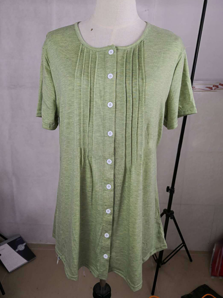 Women Button Down Short Sleeved Knitted Blouse