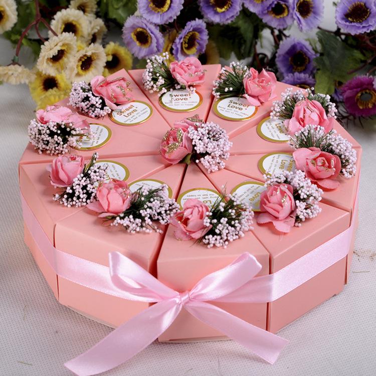 10pcs Cake Candy Gift Box Wedding Party Cake Sweet Chocolate Gift Boxes