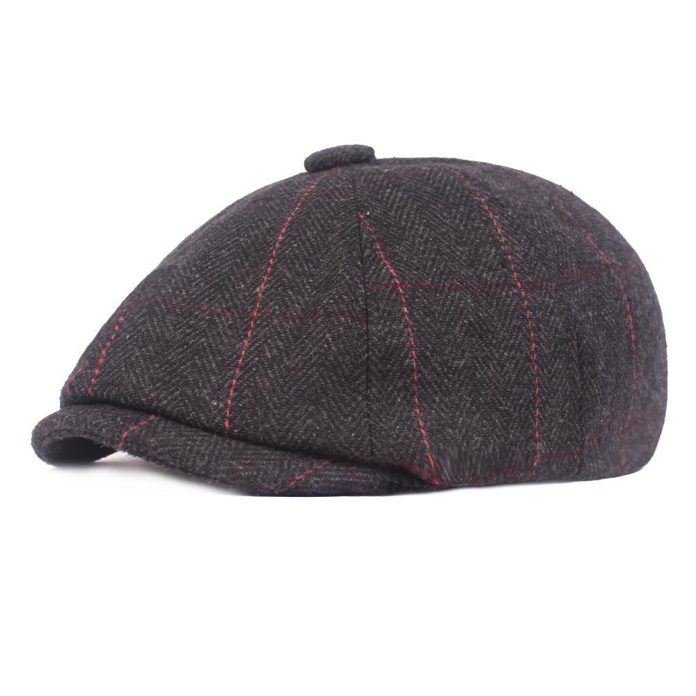Men Winter Middle-Aged Stripe Felt Beret Hat Newsboy Caps