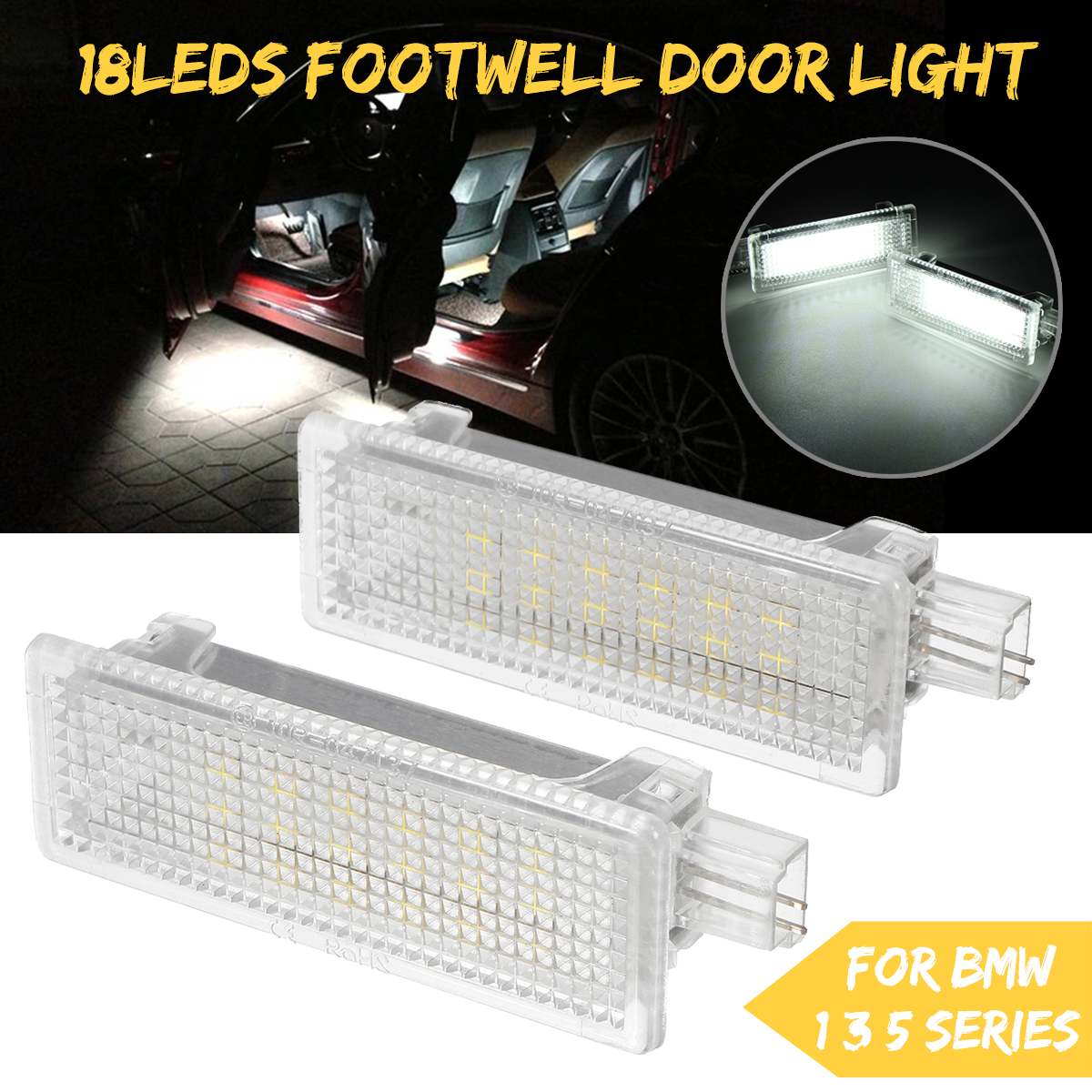 LED Footwell Light Door Courtesy Interior Puddle Lamp 2PCS for BMW E92 E81  E87 F20 E60 1 3 5 Series