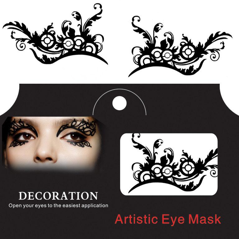 Глаз Тату Наклейка Хэллоуин Squishy Eyes Liner Lace Fretwork Papercut Временный маскарад лица