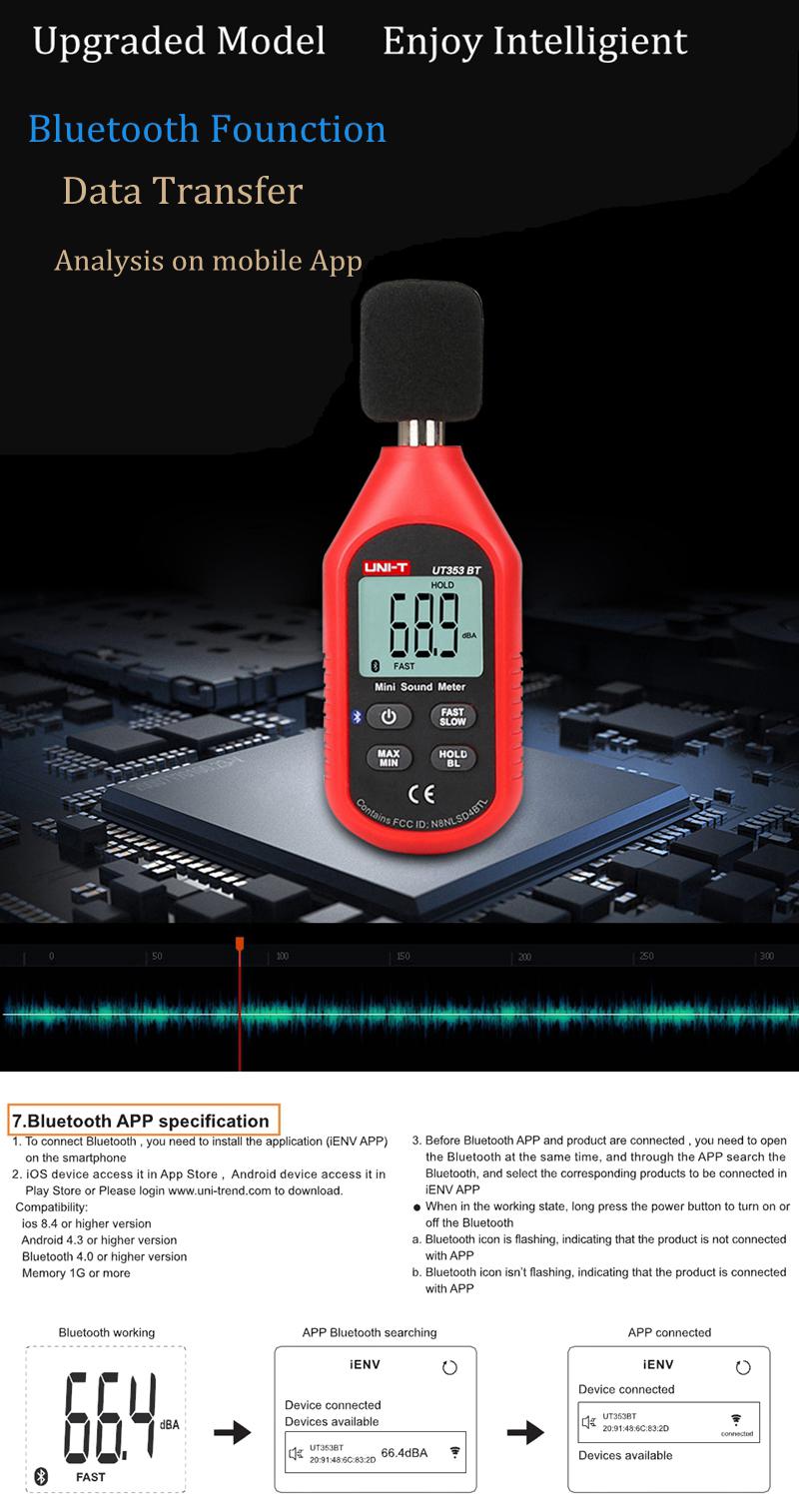UNI-T UT353BT bluetooth Sound Level Meter Digital Noise Tester 30-130dB  Decibel Monitoring Sound Level Meter