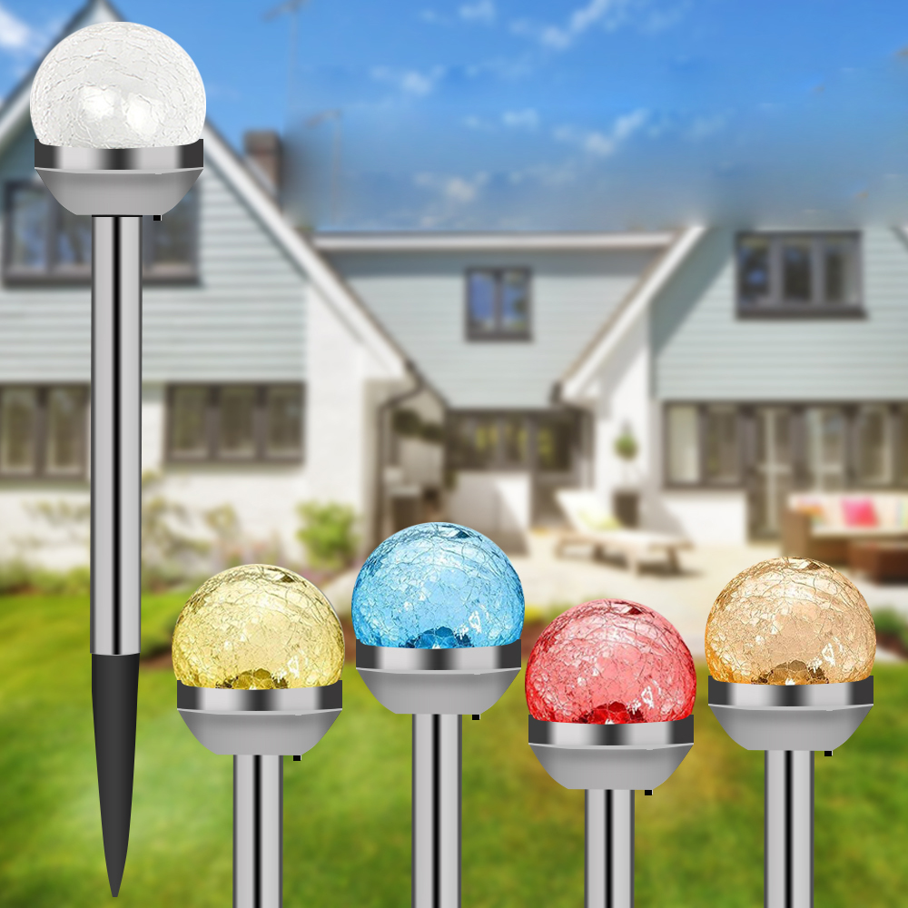 4pcs Solar LED Glass Ball Outdoor Garden Stake Lamps Color Changing Yard Lawn Landscape Light