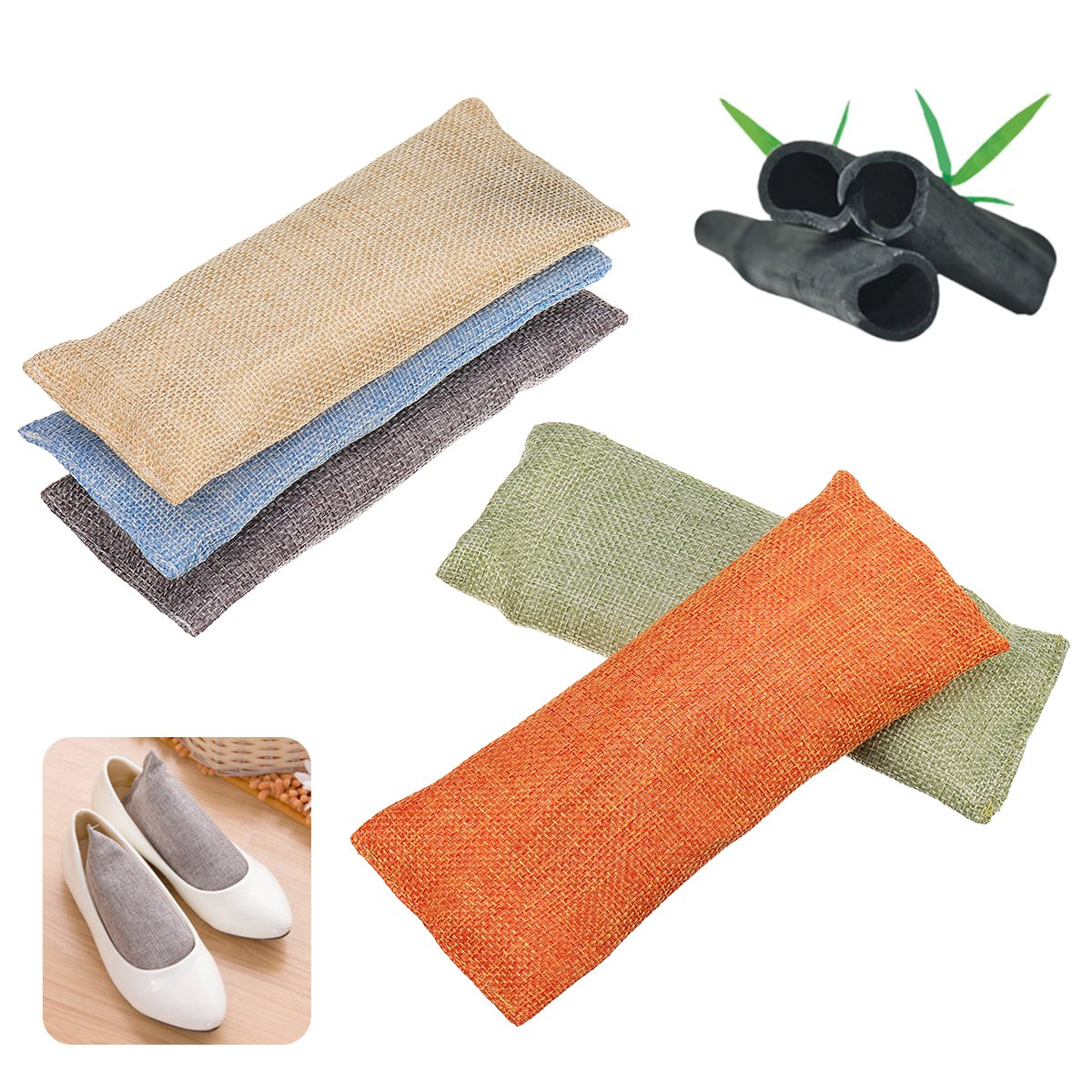 2 Bags Activated Bamboo Charcoal Air Purifying Ba