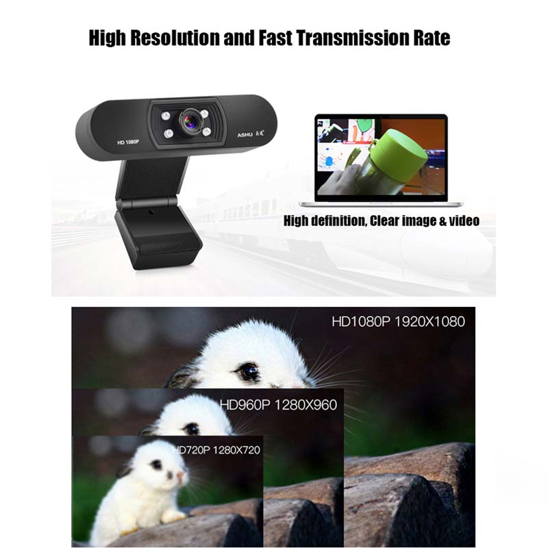 ASHU H800 1080P HD Widescreen Video Webcam with Built-In Microphone 3
