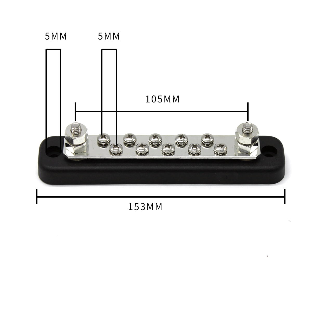 5 Way Terminal Bus Bar Power Distribution Block DC//AC Voltage For Boat