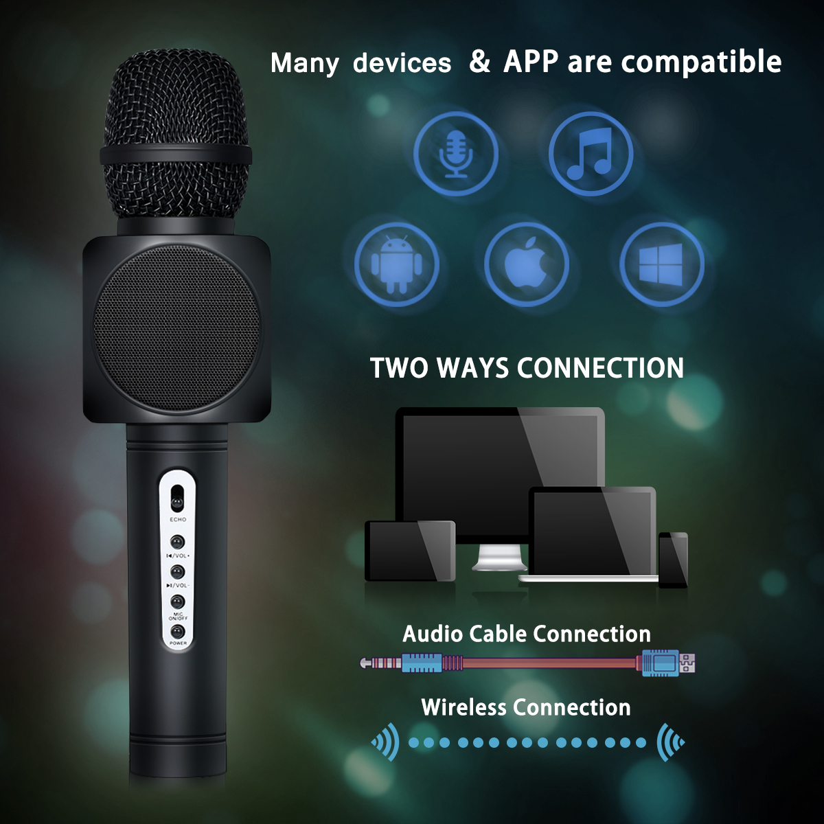 Portable bluetooth Wireless Handheld Karaoke KTY Mic Microphone Music Media  Player for Smartphone Android IOS PC