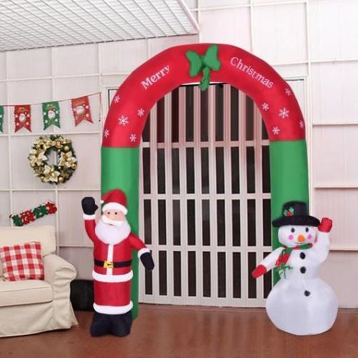 2 4m Inflatable Christmas Arch Santa Snowman Indoor Outdoor Decor Decorations