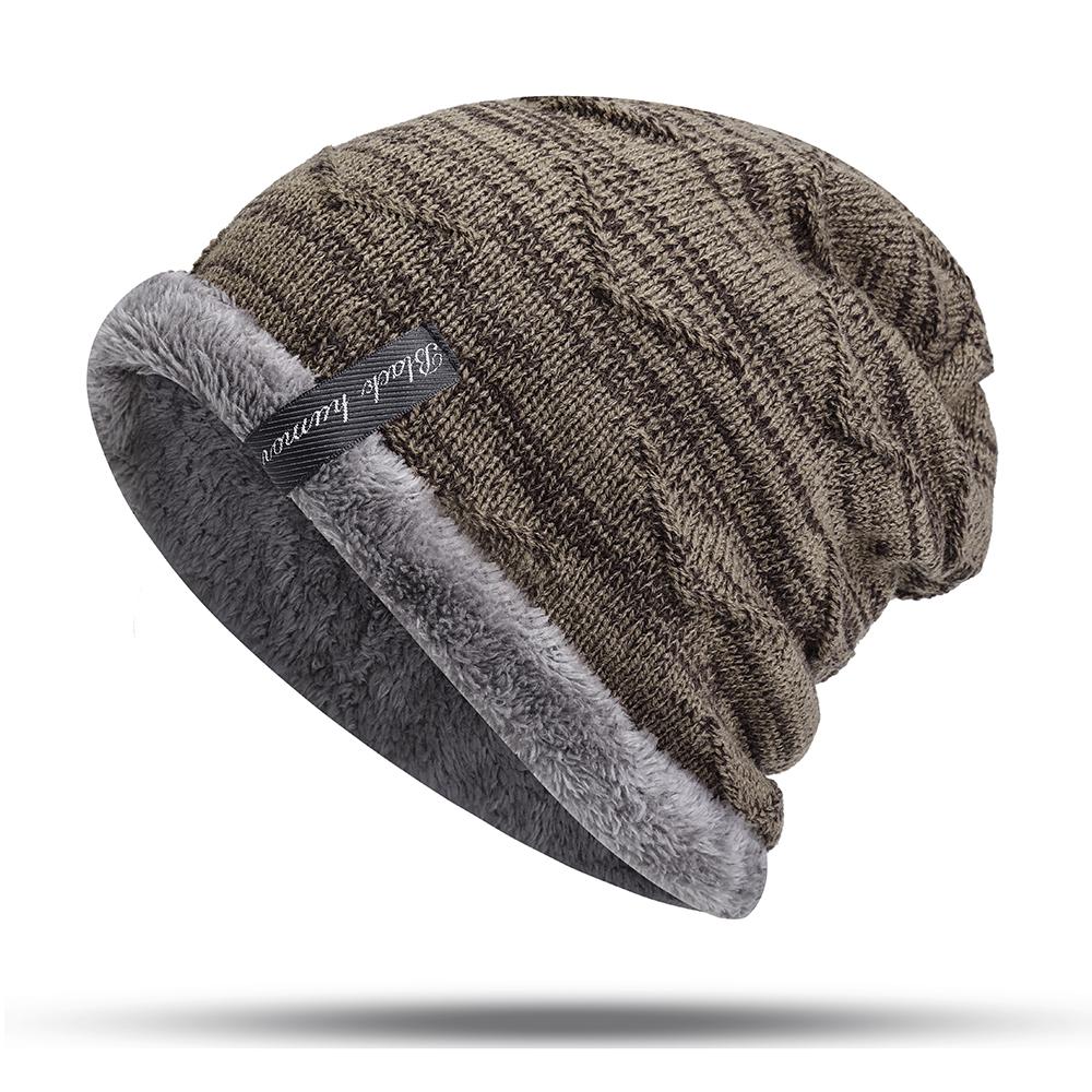 85d08efe7 Mens Plus Velvet Knitted Stripe Beanie Hats Outdoor Winter Warm Skullcap  Beanies