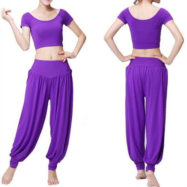 2 Pcs Women Yoga Suit Breathable Sport Crop Top Loose Pants Workout Sets