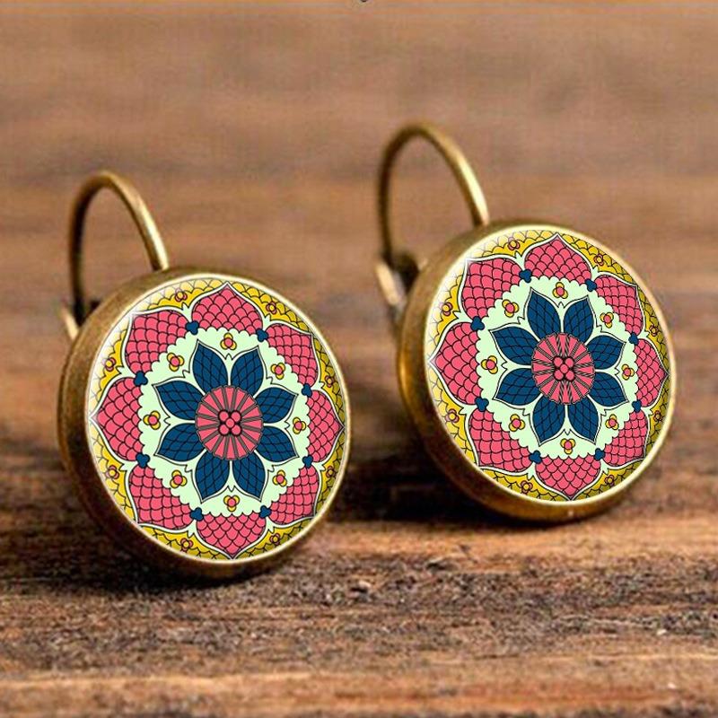 Этнический цветок Уши Drop Серьги