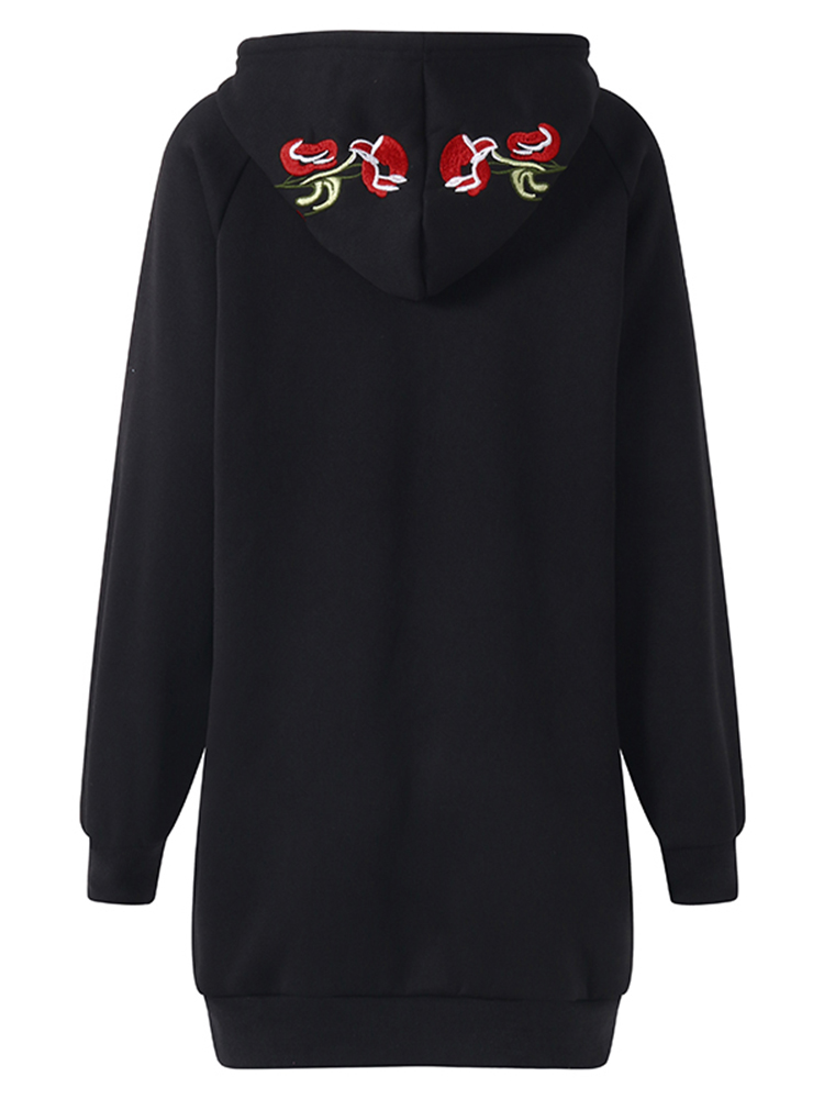 S-5XL Casual Women Flower Embroidery Hooded Sweatshirt