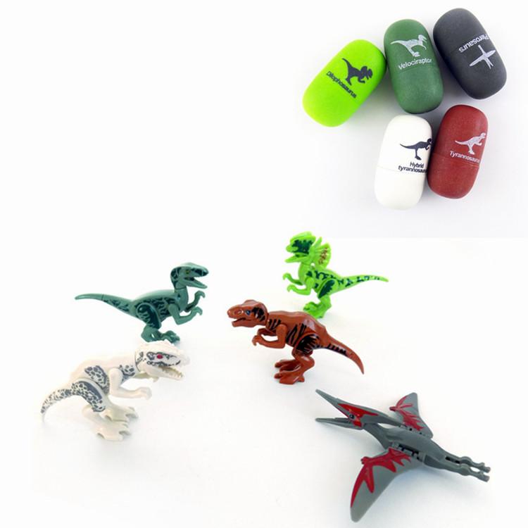 5PCS / Set Динозавр яйца Velociraptor Блоки Игрушки Детская коллекция подарков с упаковкой