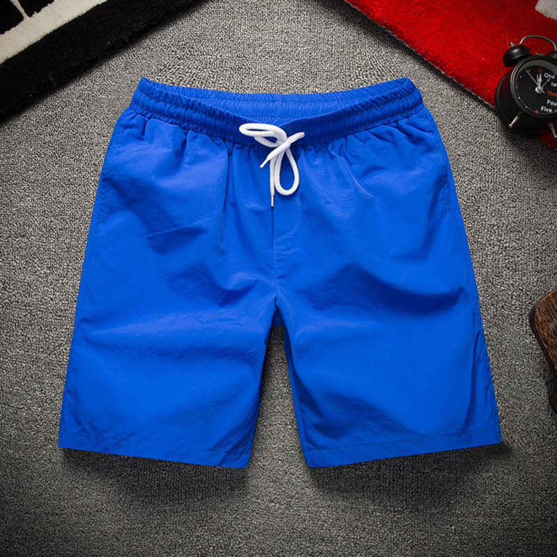 Polyester Pockets Solid Color Quickly Dry Board Shorts