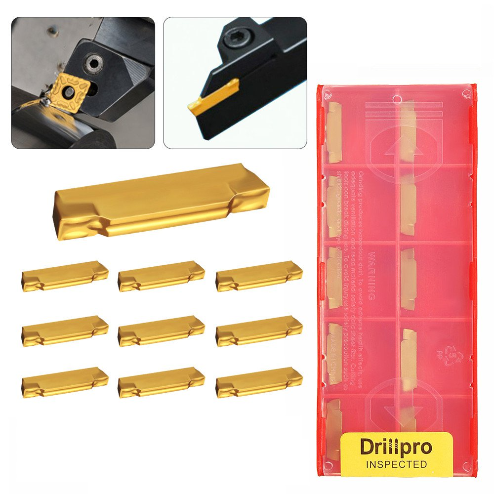 Drillpro 10pcs MGMN200-G 2mm Carbide Inserts for MGEHR/MGIVR Grooving Cut-Off Tool