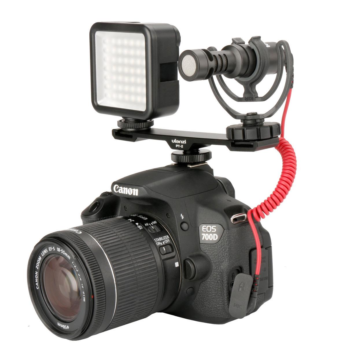 Ulanzi PT-2 Двойная холодная фотосъемка для фотокамеры 1/4 Резьбовой кронштейн Пластина для Микрофон Вспышка
