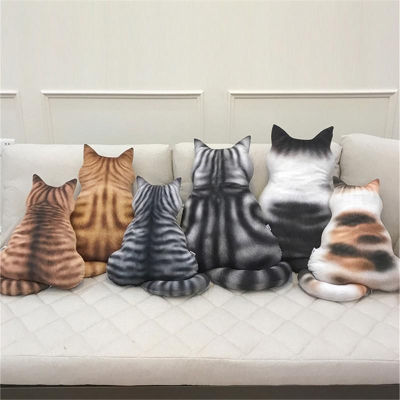 3D Cat Cushion Plush Toys Dolls Stuffed Animal Pillow Home Decorative Creative Birthday Gift Pillow