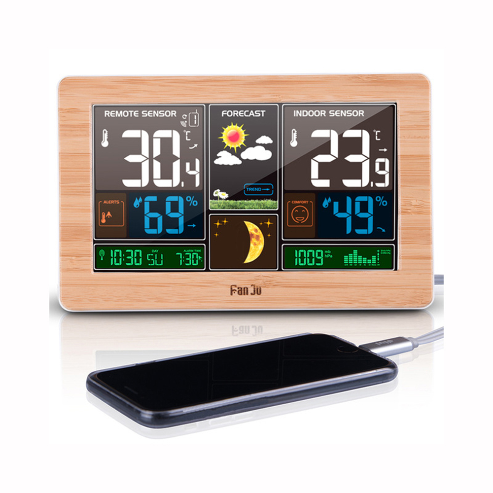 FanJu FJ3378 Digital Alarm Clock Weather Station Indoor Outdoor Temperature Humidity Meter Moon Phase Weather Forecast USB Charger