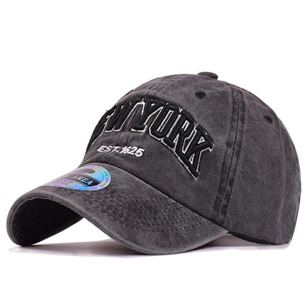 Men Washed Denim Baseball Caps Letters Applique Embelli